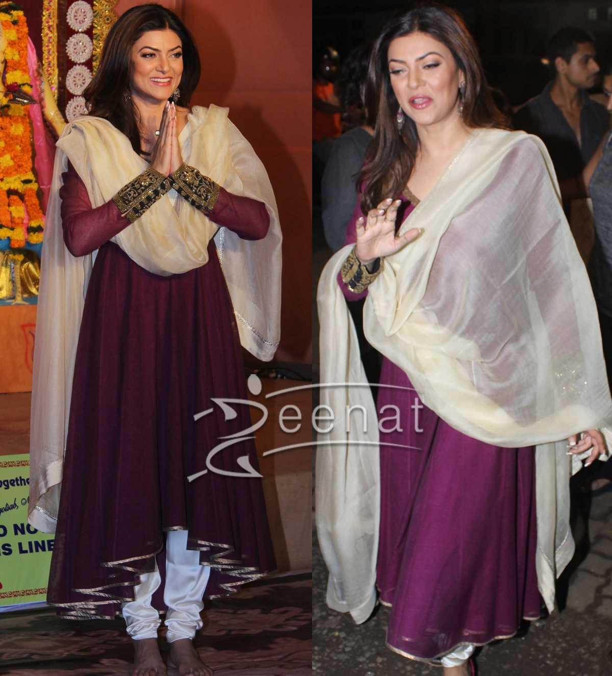Sushmita Sen In Purple Anarkali Churidar for Durga Pooja