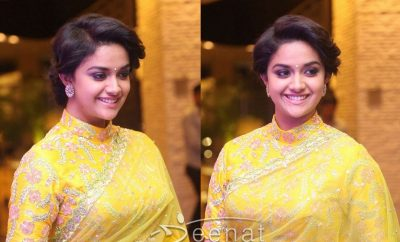 South Indian Actress Keerthi Suresh in Yellow Lehenga Choli