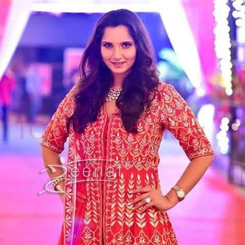 Sania Mirza In Anita Dongre at Her sister Wedding
