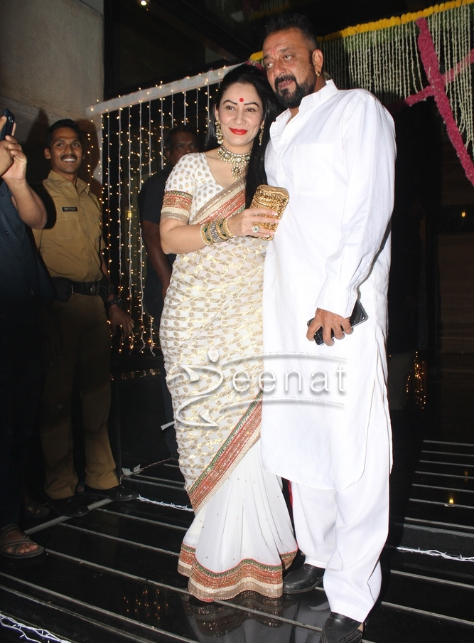 Sanjay Dutt with his wife celebrating Diwali in All White ...