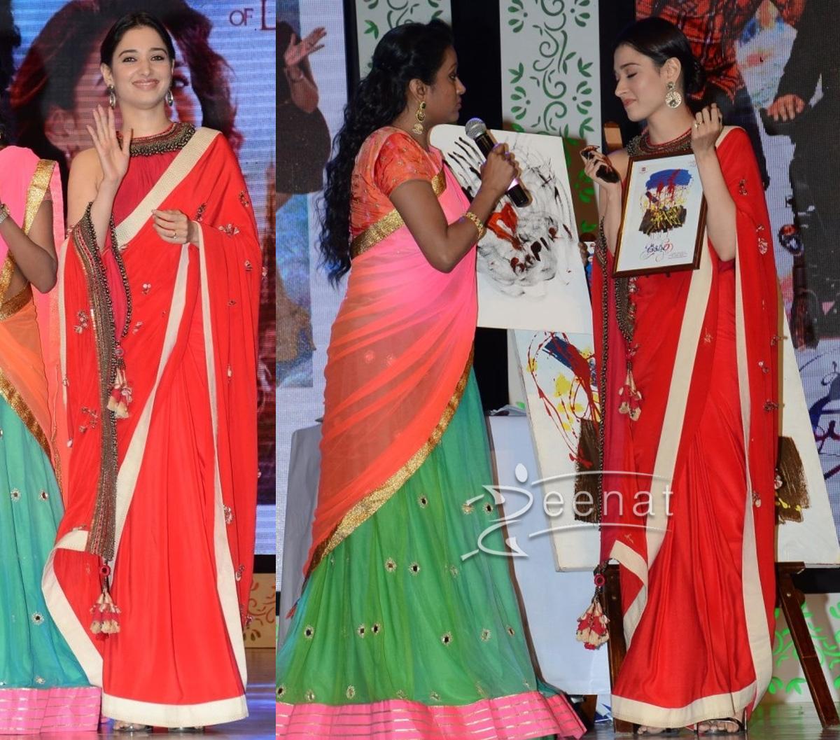 Tamannah Bhatia in Red Silk Saree