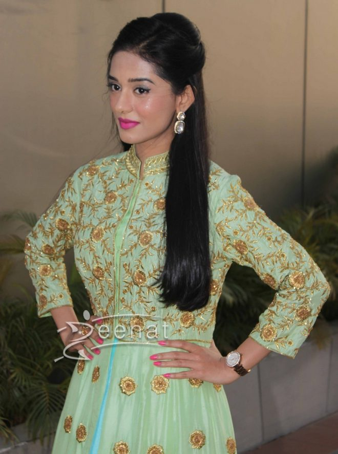Amrita Rao in Green Designer Frock