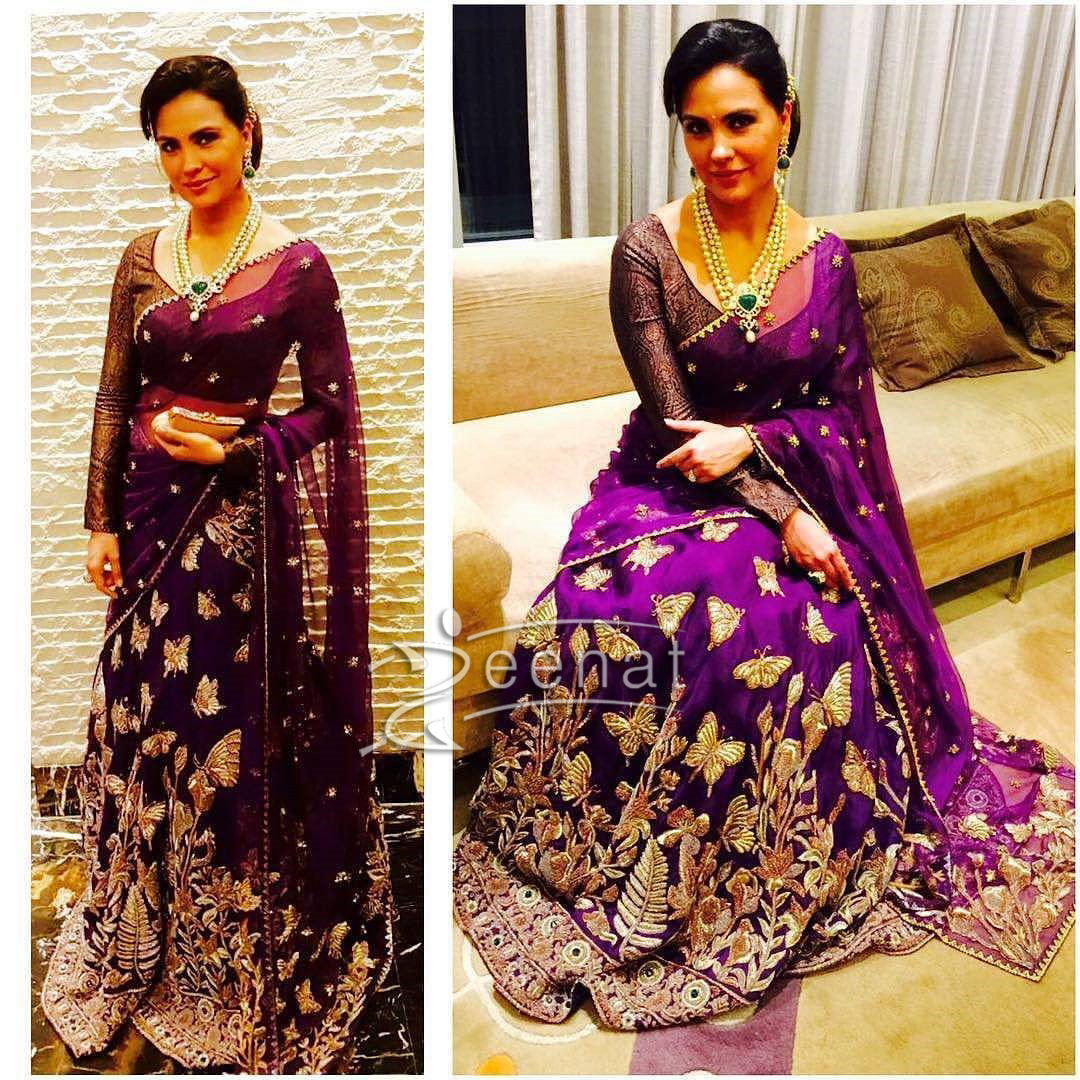 Lara Dutta In Monica Jaising Embroidered Saree