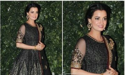 Dia Mirza In Tarun Tahiliani Peplum Top Lehenga Choli