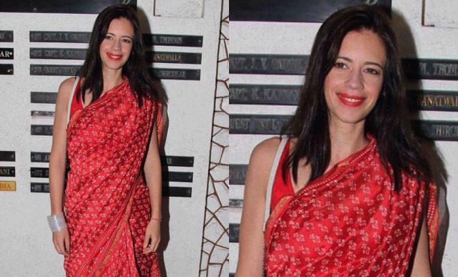 Kalki Koechlin In Red Banarsi Saree