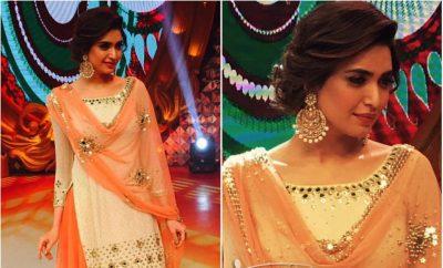 Karishma Tanna in Lehenga Choli on the sets of Big Memsaab