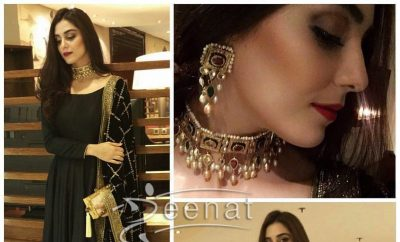 Maya Ali In Black Anarkali Salwar Kameez