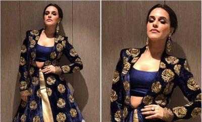 Neha Dhupia in Manish Malhotra Velvet Gown Lehenga