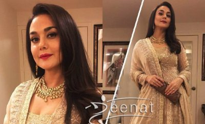 Preity Zinta Sober and Serene in Anita Dongre Lehenga