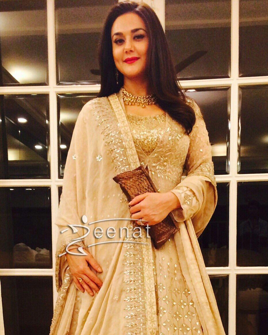 Preity Zinta Sober and Serene in Anita Dongre Lehenga