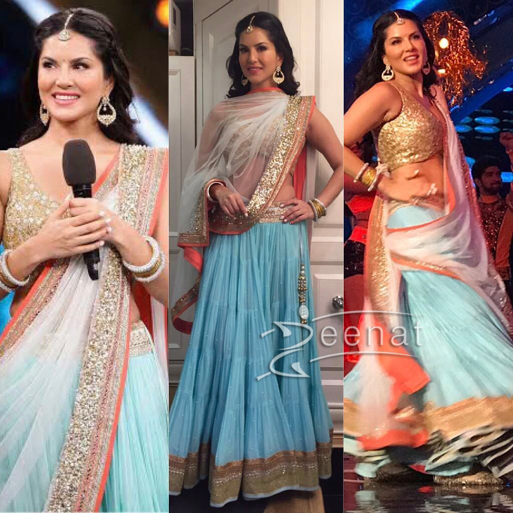 Sunny Leone in Chameen and Palak Blue Lehenga Choli