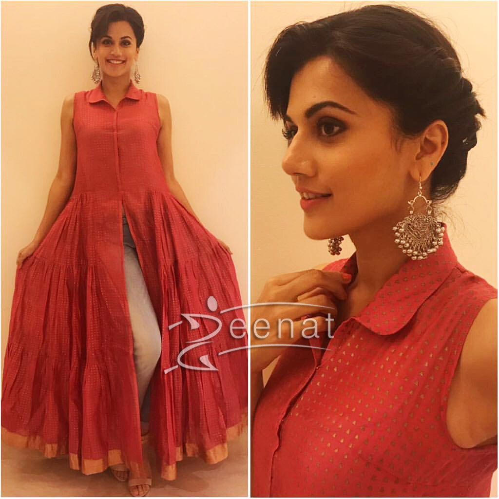 Taapsee Pannu in Red Flared Dress