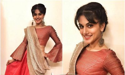 Taapsee Pannu In Myoho Bell Sleeves Saree