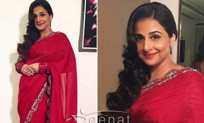 Vidya Balan In AM PM Red Saree at Umang Show 2017