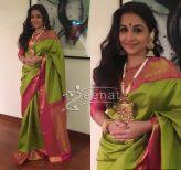 Vidya Balan in Kanjivaram Sartre Saree at Ronnie Screwala's Daughter's Wedding