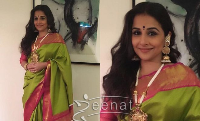 Vidya Balan in Kanjivaram Sartre Saree at Ronnie Screwala's Daughter's Wedding