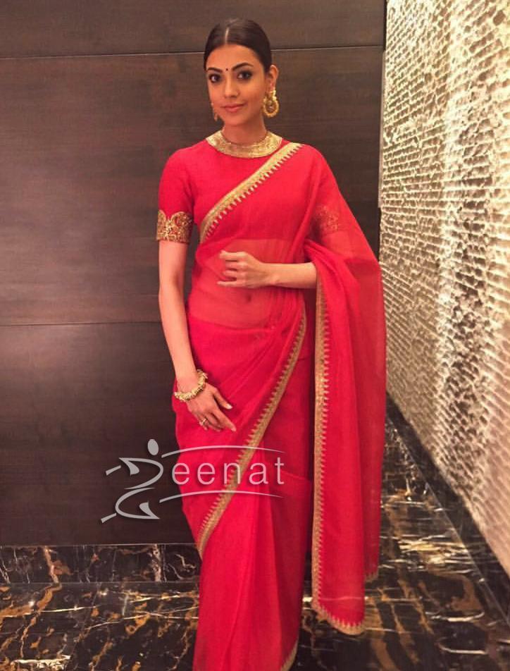 Kajal Agarwal in Red Sabyasachi Saree