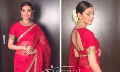 Kajal Agarwal in Red Sabyasachi Saree