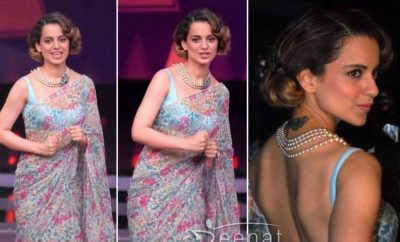 Kangana Ranaut in Sheer Blue Saree for Rangoon Promotions