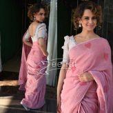 Kangana Ranaut in Galang Gabaan Pink Hearts Saree Rangoon Promotions