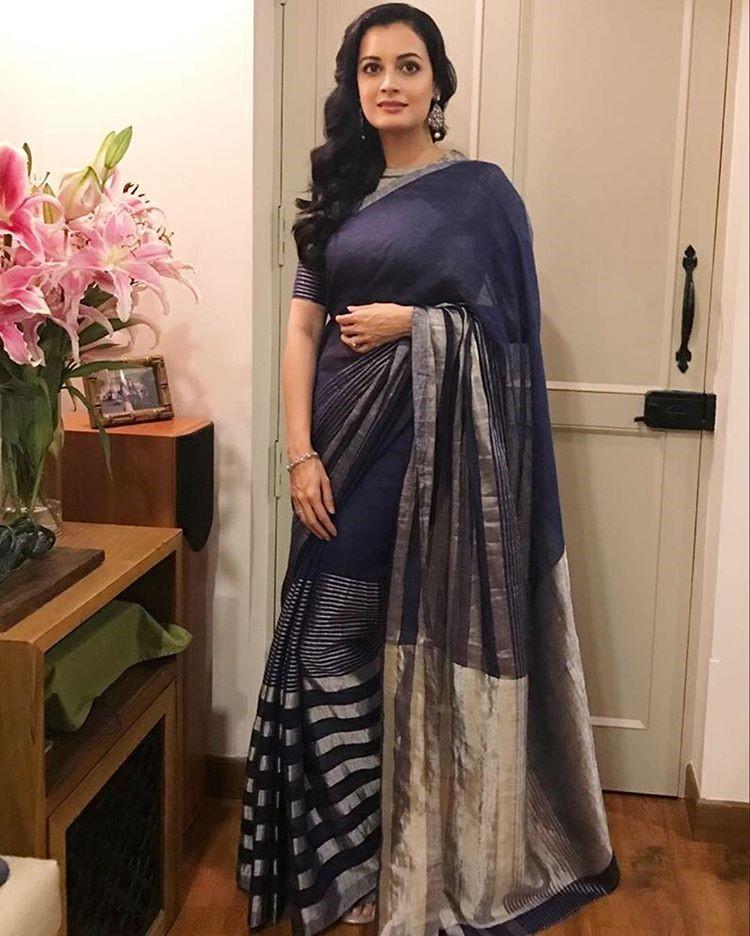 Dia Mirza in Anavila Blue Saree