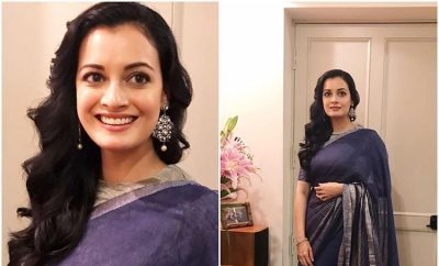 Dia Mirza in Anavila Blue Saree