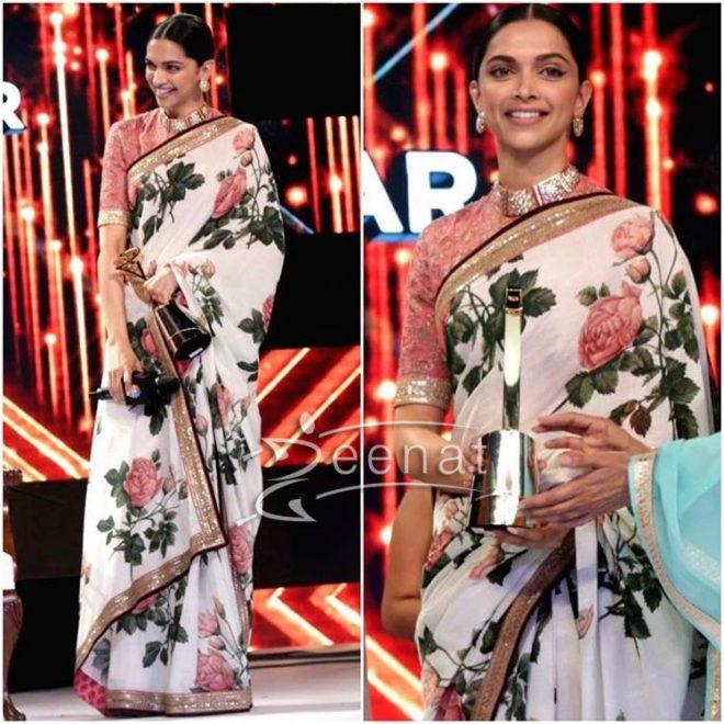 9ddaae10b6444f Deepika Padukone in Sabyasachi Mukherjee Floral Saree
