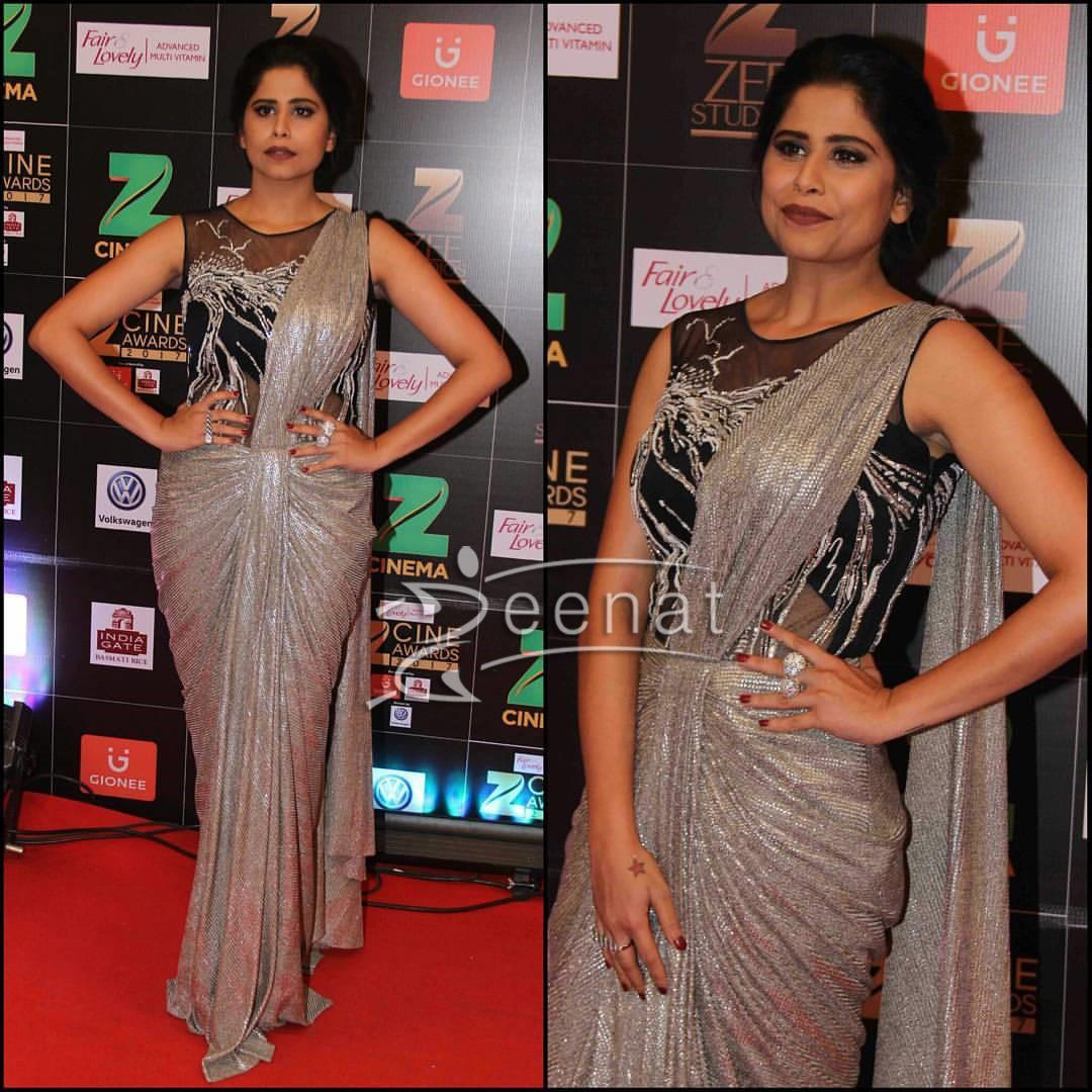 Sai Tamhankar in Ishan Shravika Gown at Zee Cine Awards 2017