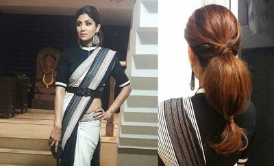 Shilpa Shetty in Shantanu Nikhil Monochrome Saree