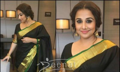 Vidya Balan in Black Saree Begum Jaan Promotion