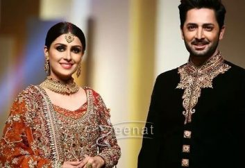 Aiza Khan and Danish Taimoor for Aisha Farid at QHBCW17