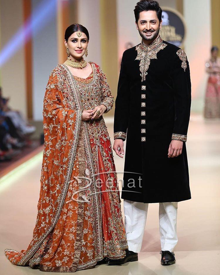 Aiza Khan and Danish Taimoor for Aisha Farid at QHBCW17