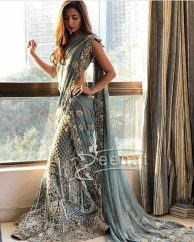 Mahira Khan in Icy Blue Saree by Elan