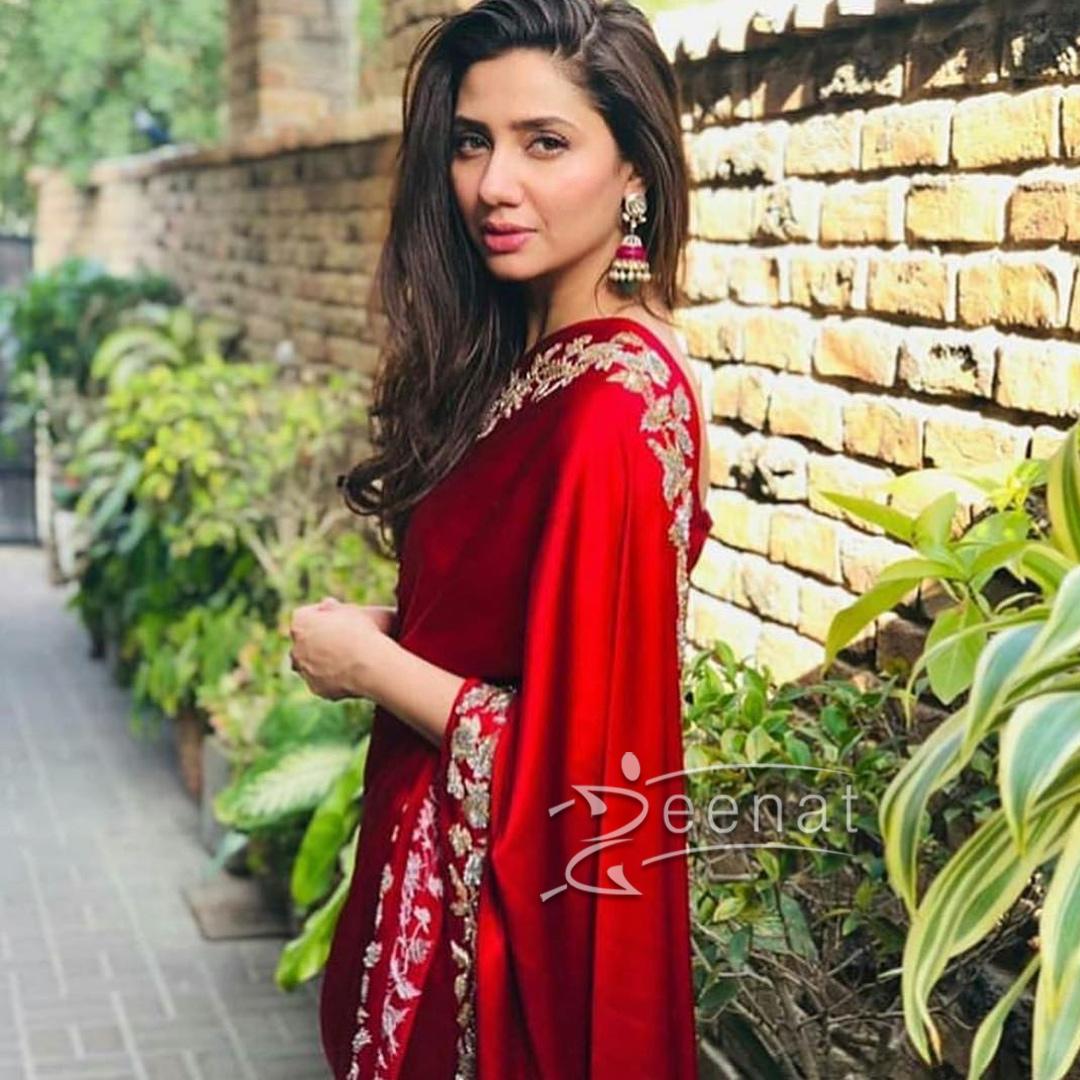 Mahira Khan in red Silk Saree