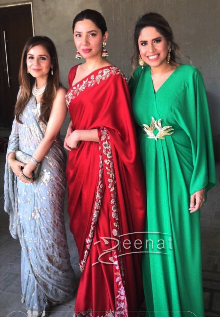 Mahira Khan in red Silk Saree