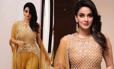 Saba Qamar in All Gold dress by Faraz Mannan