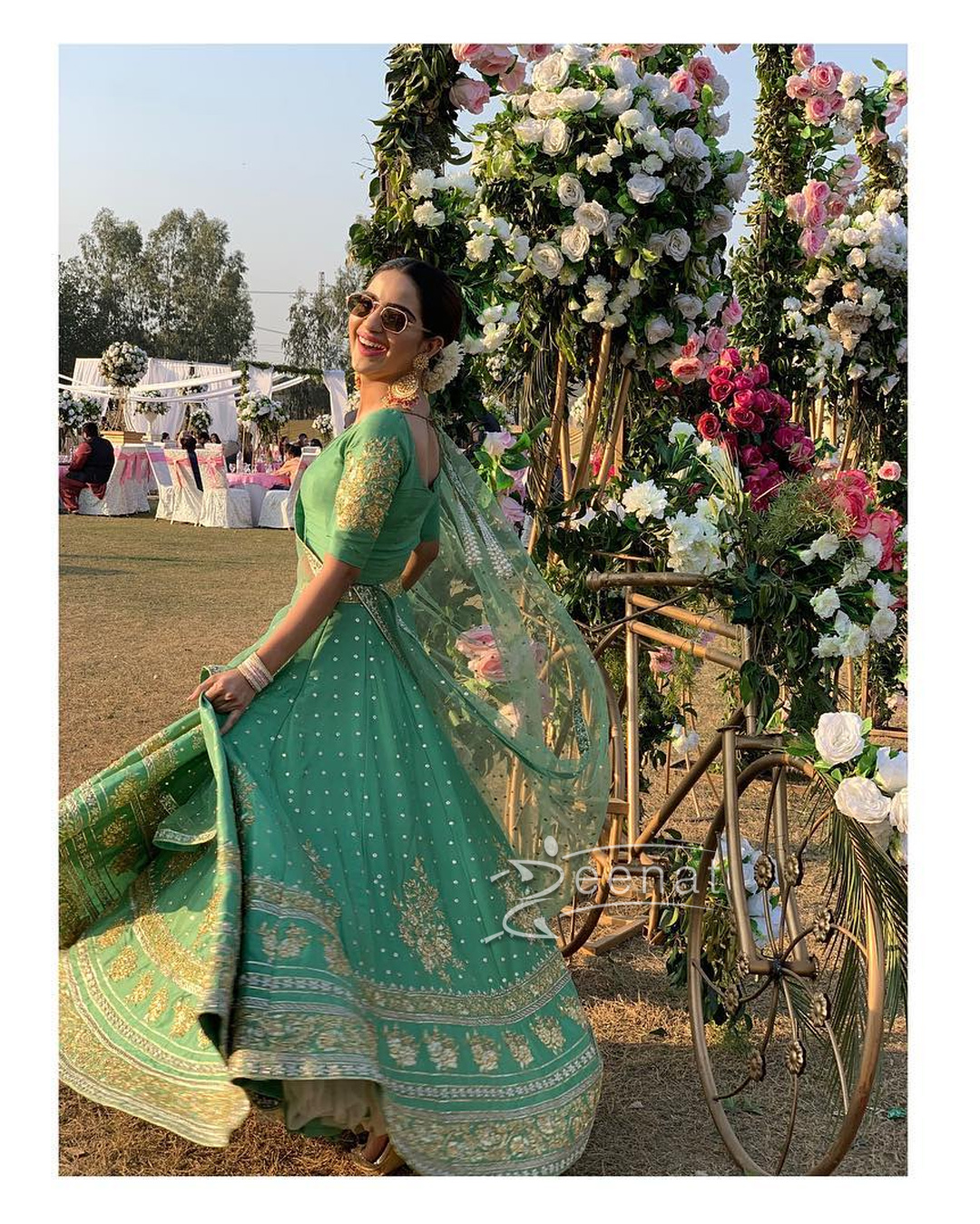 Saboor Aly in Green Lehenga Choli by Umer Sohail