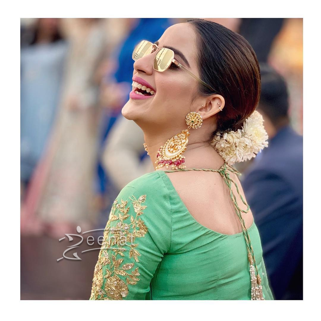 Saboor Aly in Green Lehenga Choli by Umer Sohail