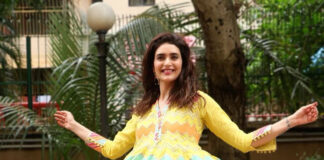 Karishma Tanna in Yellow Dhoti Kurta Salwar by Gopi Vaid